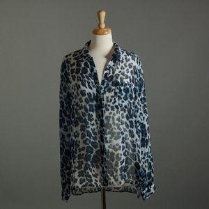 [Diane Von Furstenberg] silk sheer blouse